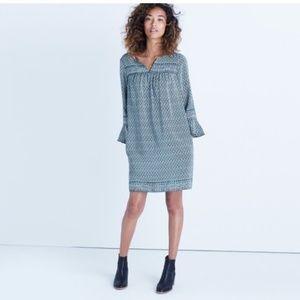 Madewell Green Silk Starland Shift Dress